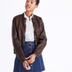Madewell Brown Leather Bomber Jacket